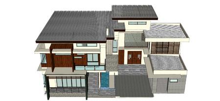 holiday villa: 2 storey modern home design Stock Photo