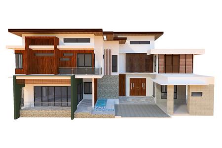 patio set: 2 storey modern home design Stock Photo