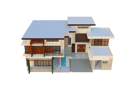 2 storey modern home design Stock Photo