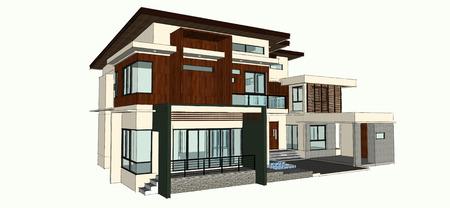 storey: 2 storey modern home design Stock Photo