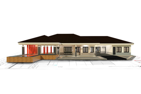 poolside: 3D render of house with isolated on white background