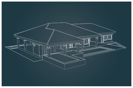 architectonic: 3D vector of house with isolated on white background