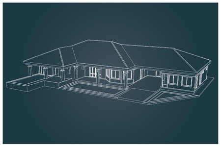 wealthy lifestyle: 3D vector of house with isolated on white background