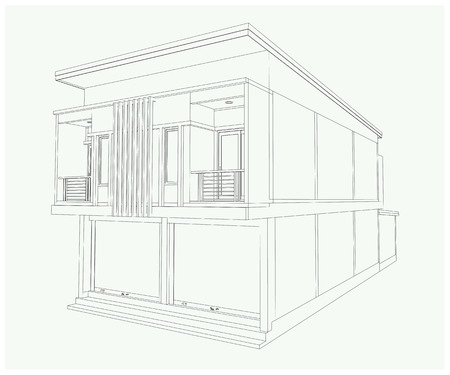 building structure: 3D building  isolated on white Vector illustration