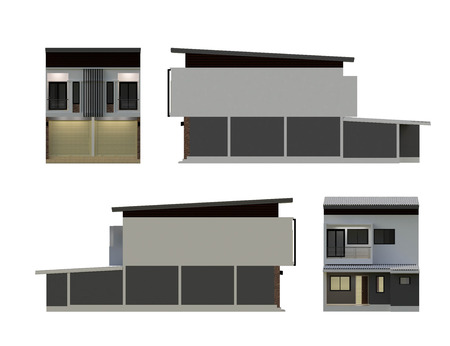 front of house: 3D building isolated on white - Render illustration