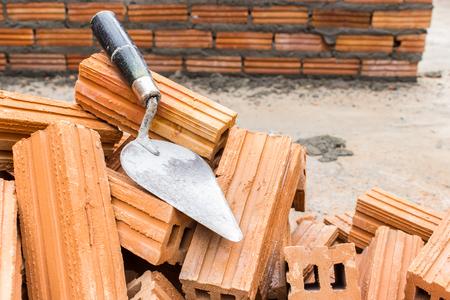 redbrick: Building brick wall construction Stock Photo