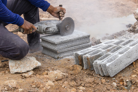 cutoff blade: Cutting bricks in construction sites by using the tool specialists.