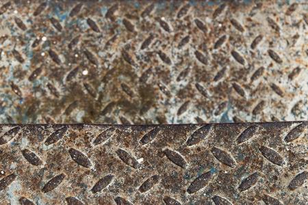 nonslip: Old rusty steel with non-slip flooring.
