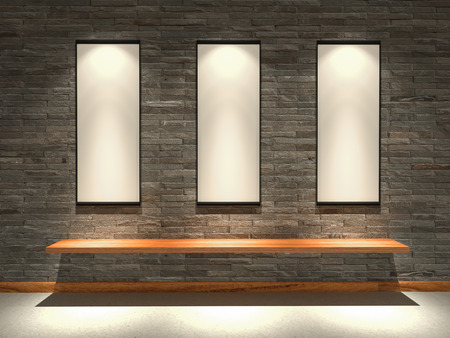 sanding block: Sandstone walls are decorated with lights shines onto board Stock Photo