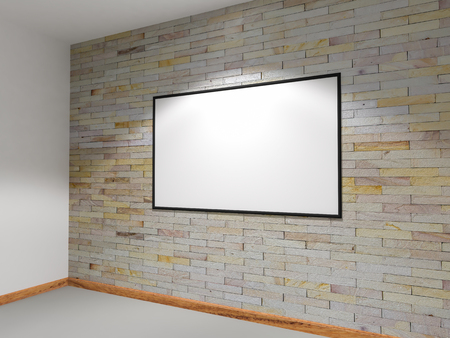 sanding block: 3D rendering sandstone walls are decorated with lights shines onto board Stock Photo