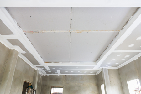 build gypsum board ceiling in construction site