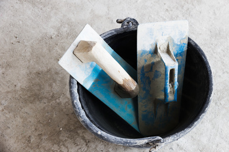 Tools used in plaster or masonry construction sites Stockfoto