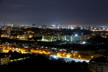 Night top view on hotel at Pattaya jomtien city, Thailand Stock Photo