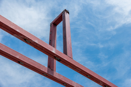 Building construction work steel roof structure.Supports concrete tile roof. Stock Photo