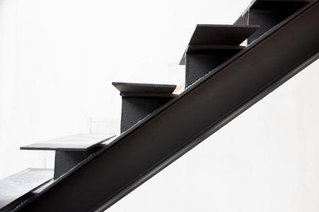 Installation of steel stairs using steel i-beams.