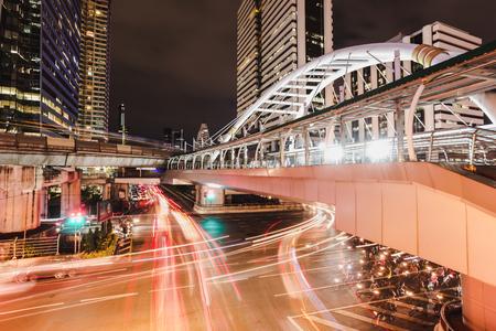 Landmark chong nonsi BTS station at night in background Thailand