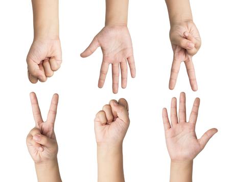 Het spel van het de jonge geitjesspel van de hand, dat op witte achtergrond wordt geïsoleerd Stockfoto
