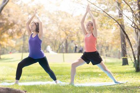 Sisters  doing yoga pose meditation in the public park