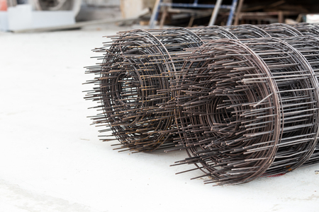industrial construction building wire mesh on floor concrete Stock Photo