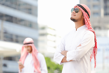 Arab business man working in the city