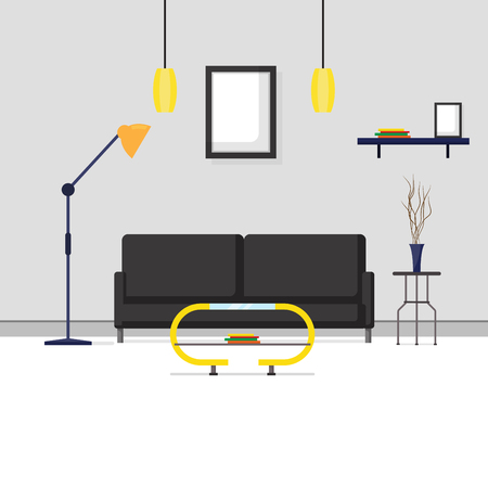 Flat design interior and furniture in living room Ilustracja
