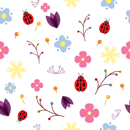 Seamless texture with floral vector pattern with ladybug