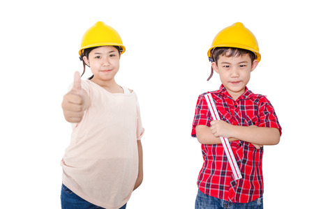 Little boy ann girl construction people concept isolated on white background Stock Photo