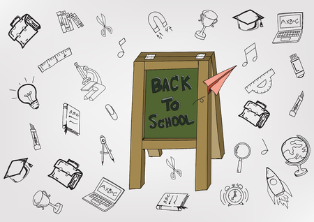 Back To School with hand drawn object art style on white background,Concept of education. Ilustracja
