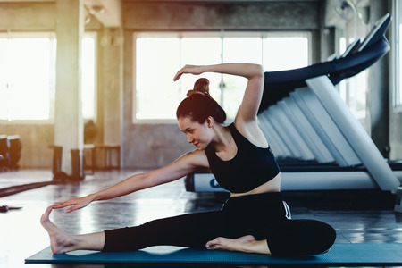 Asian young woman lifestyle healthy body workout in gym, Sports style yoga concept Stock Photo
