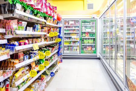 NAKHONRATCHASIMA, THAILAND - DECEMBER 21, 2018:Tesco Lotus Express interior shot supermarket aisle with empty Redakční