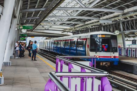 BANGKOK, THAILAND - FEBRUARY 24, 2019 : Sky train bangkok stop at the station
