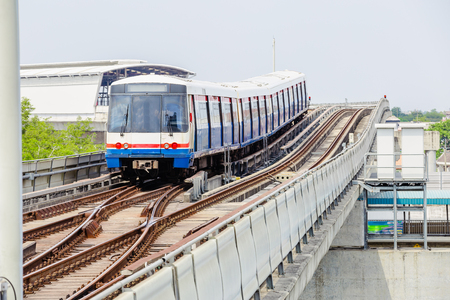 Sky train in Bangkok running on a steel rail to the station Reklamní fotografie