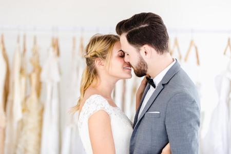 Beautiful portrait model wedding couple in studio shop Stock Photo