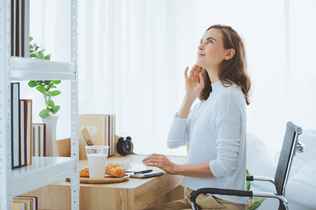 Lifestyle woman working typing on laptop in stylish room at home Reklamní fotografie