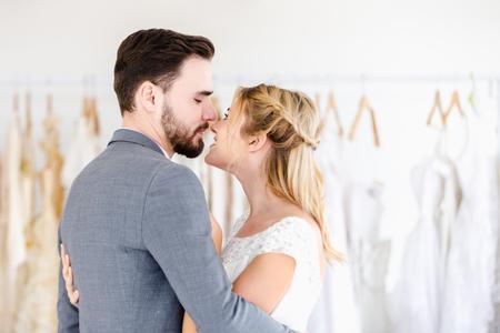 Beautiful portrait model wedding couple in studio shop Reklamní fotografie