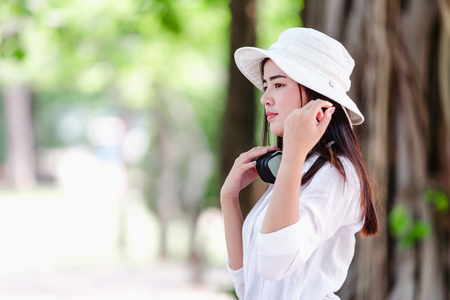 Asian portrait of beautiful young woman in nature