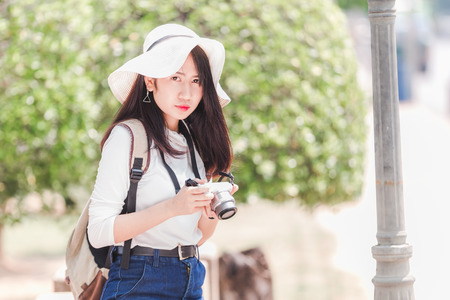 Asian young girls traveler in city