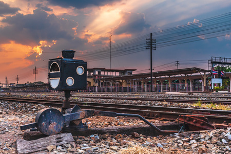 outdoor landscape railway train station sunset background