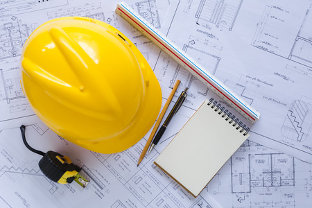 Top view architect tools on paper white plan building construction,Concept work architect