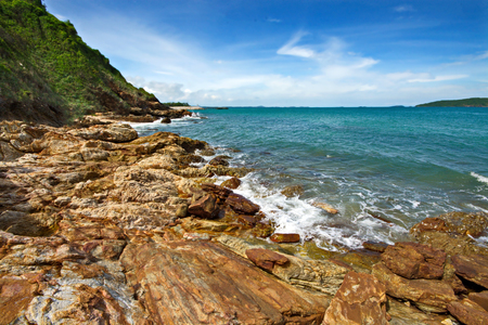 Amazing sea with blue summer wave and rocks. Summer sea background