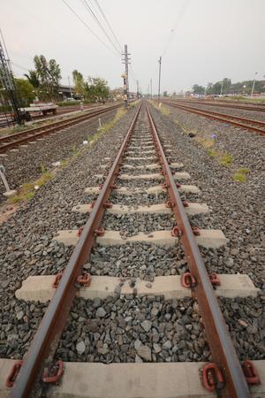 rails of railway forward go into in thailand. Editorial