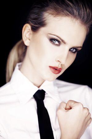 Portrait of Urban Business woman wearing tie photo