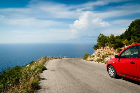 cars on road: Road in mountain along coast  greek island, Zante