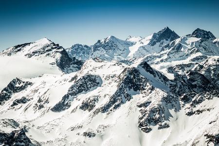 kitzsteinhorn: Beautiful view from Kitzsteinhorn peak, Kaprun ski resort in Alps Stock Photo