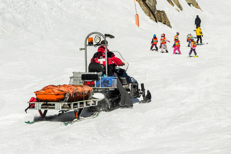 moguls: Emergency sled at the ski resort Stock Photo