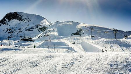 kitzsteinhorn: Machines for skiing slope preparations Stock Photo