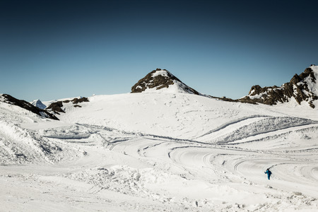 snow grooming machine: Crosscountry skier in the austrian Alps Stock Photo