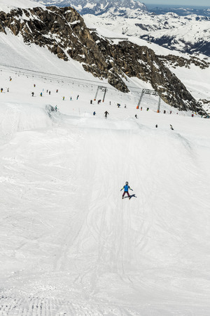 moguls: Snowboard and ski park at Kitzsteinhorn ski resort, Austria Stock Photo