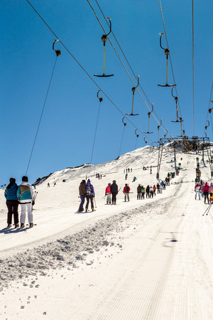 kitzsteinhorn: People using rope tow systems of Kitzsteinhorn ski region in Austria