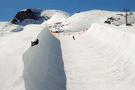 halfpipe: Halfpipe of Kitzsteinhorn ski resort in Austria